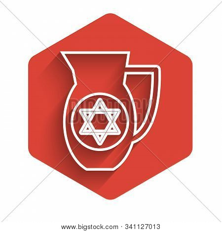 White Line Decanter With Star Of David Icon Isolated With Long Shadow. Pottery Jug. Organic Product