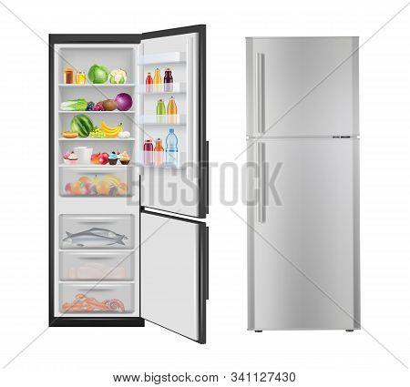 Fridge With Food. Opening Realistic Refrigerator With Fresh Healthy Products Electric Modern Home Ap