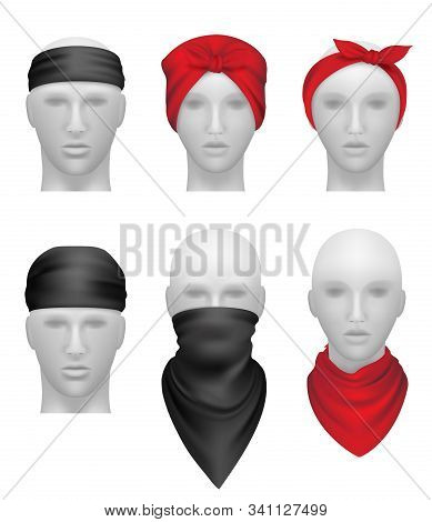 Bandanas Set. Stylish Clothes For Bikers And Gangsters Mannequin Head Vector Realistic. Illustration