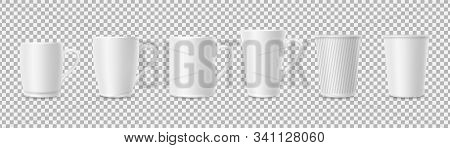 White Cups. Realistic 3d Cup Mockups Isolated On Transparent Background. Coffee, Tea Mugs Vector Set