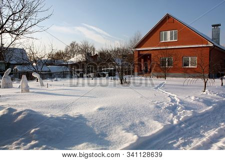 Winter Snow Farm House Landscape. Winter Path In Snowy Village. Winter Snow Village. Winter Snow Pat
