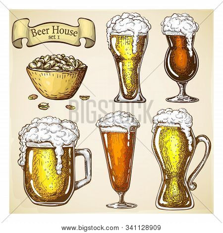 Hand Drawn Beer With Snack Isolated On Grunge Backdrop. Various Types Of Beer Glasses Set In Vintage
