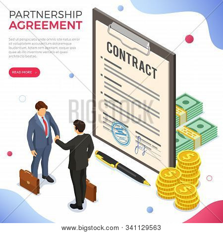 Handshake Business Mans After Negotiating Successful Deal. Partnership Collaboration Corporate Busin
