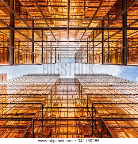 Uprisen Angle Of Hong Kong Skyscraper With Reflection Of Clouds Among High Building, Building Glasse