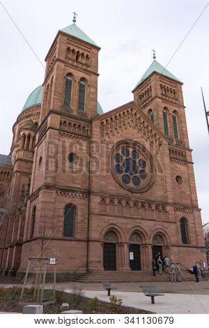 Strasbourg, Bas-rhin / France - 14. December, 2019: View Of The Saint-pierre-le-jeune Catholic Churc