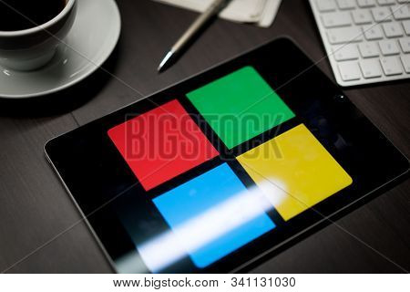 New York, New York / USA - 11 11 2019: Logo of Microsoft Windows on the iPad Air2 in on office desk
