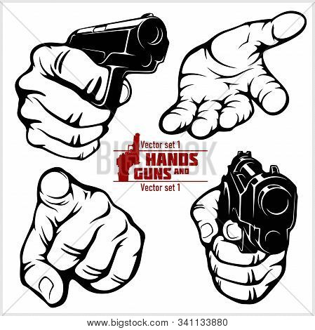 Hands With Guns And Hand Gestures - Pistol Pointed. At Gunpoint