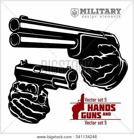 Hands With Shotgun And Pistol - Shotgun And Pistol Pointed. At Gunpoint