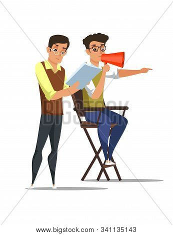 Screenwriter And Director In Chair Cartoon Flat Characters. Filming Process Vector Illustration. Hol