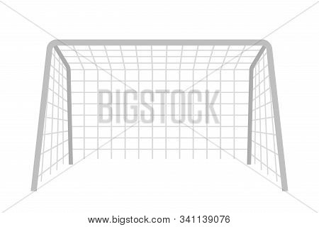 Soccer Gate Flat Vector Illustration. Goalpost With Net Isolated Clipart On White Background. Outdoo