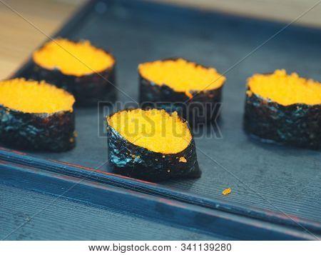 Tobiko Nigiri, Rice Roll Sushi Japanese Food Top On Shrimp Eggs