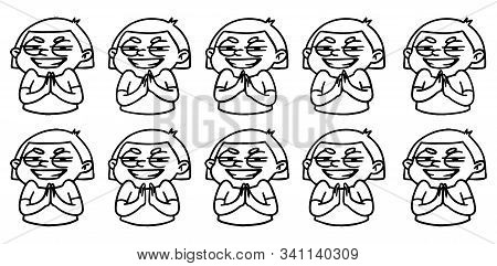 Cartoon Girl Rubs Her Hands Maliciously Animation Sprite Sheets. Frame Loop Vector