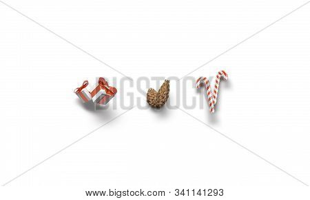 Blank Decoration Gift Box, Candy Stick And Pine Mockup Set, Isolated, 3d Rendering. Empty Nativity A
