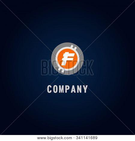 Letter F Alphabetic Logo Design Template, Crypto Curency Logo Concept, White, Gray, Orange, Ellipse,