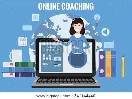 Online Coaching Training, Education, Workshops And Courses. E-learning Page With Notebook, Pile Of B