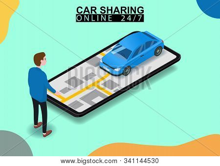 Car Sharing Isometric. Man Near Smartphone Screen With City Map Route And Points Location Blue Car.