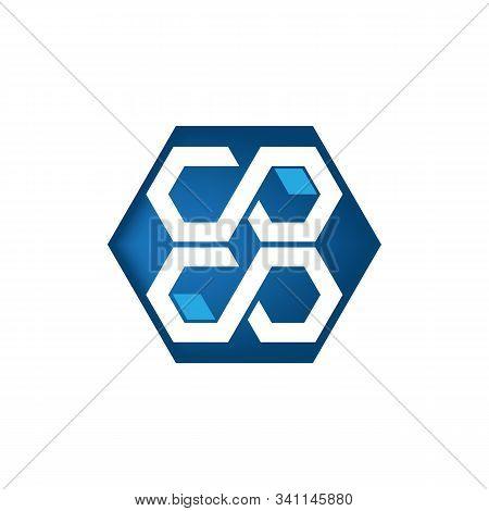 Abstract Letter C O In Hexagon Blue Color , Logo Design Vector Template.