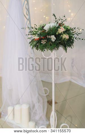 Bridal Flower Arrangement With Chrysanthemum, Rose, Pine, Eustoma, Ilex, Thuja, Waxflower, Eucalyptu