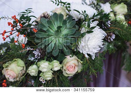 Marriage Flower Composition With Succulent, Chrysanthemum, Rose, Pistachio, Thuja, Waxflower, Ilex,