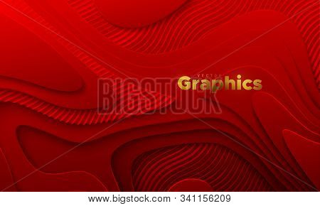 Red Paper Cut Background. Abstract Realistic Papercut Decoration With Wavy Layers And Engraved Wavy