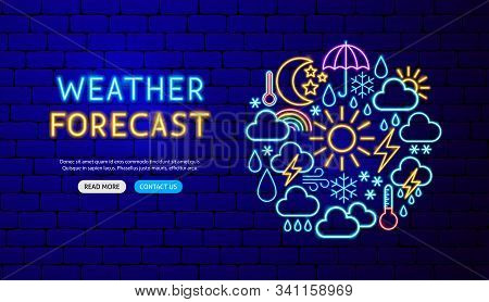 Weather Neon Banner Design. Vector Illustration Of Forecast Promotion.