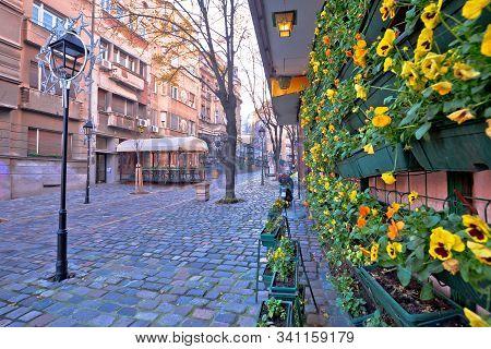 Belgrade. Famous Skadarlija Old Cobbled Streets In Historic Beograd, Capital Of Serbia
