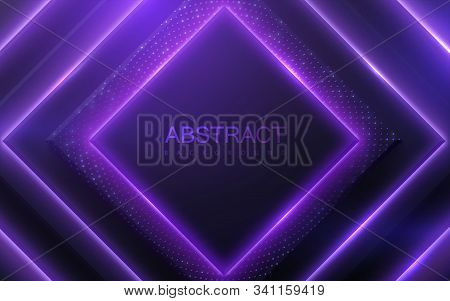 Neon Glowing Light Geometric Shapes. Abstract 3d Background. Vector Illustration Of Ultraviolet Elec