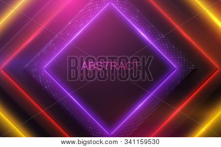 Neon Glowing Light. Geometric Shapes With Glitters. Abstract 3d Background. Vector Illustration Of C
