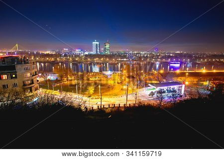 Beograd Skyscrapers And Sava River Evening View, Capital Of Srbija
