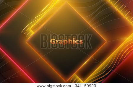 Neon Glowing Light Geometric Shapes. Abstract 3d Background. Vector Illustration Of Colorful Electri