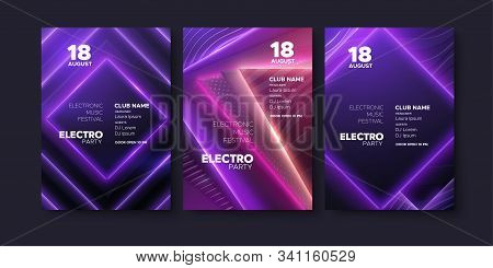 Electronic Music Festival Ads Poster. Modern Club Electro Party Invitation. Vector Illustration. Abs