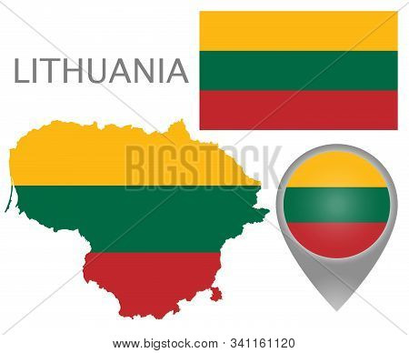 Colorful Flag, Map Pointer And Map Of Lithuania In The Colors Of The Lithuanian Flag. High Detail. V