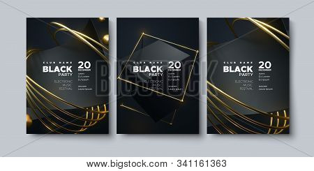Electronic Music Festival. Modern Posters Design. Black Party Invitation. Abstract Background. Black