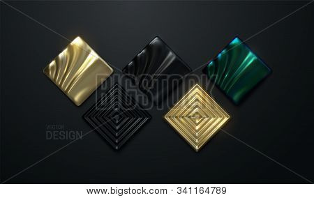 Abstract Geometric Shapes Collection. Vector 3d Illustration. Golden, Black And Green Mosaic Square