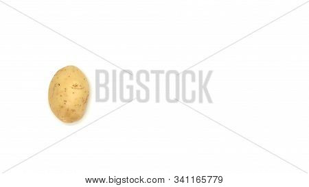 Young white potato, top view. Isolated potatoes on a white background.  Fresh food for vegetarians.