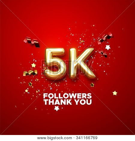 5 Thousand. Thank You Followers. Vector 3d Illustration For Blog Or Post Design. 5k Golden Sign With