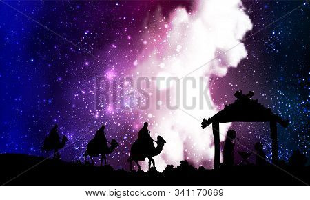 Jesus Mary Joseph On A Nebula Background, Vector Art Illustration.