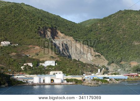 The Industrial View Of A Gravel-pit In Road Town On Tortola Island (british Virgin Islands).