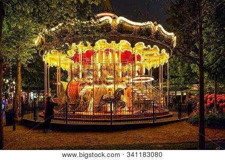 Copenhagen, Denmark - May, 2019: Night View Of The Amusement Park Tivoli Gardens In Copenhagen, Denm
