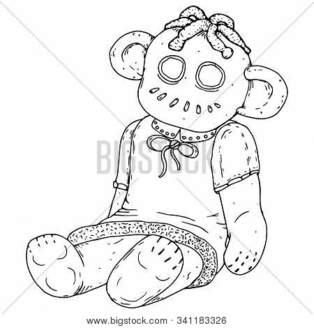 Doll. Vector Illustration Of A Rag Doll. Hand Drawn Doll For Needles. Sketch Terrible Doll.