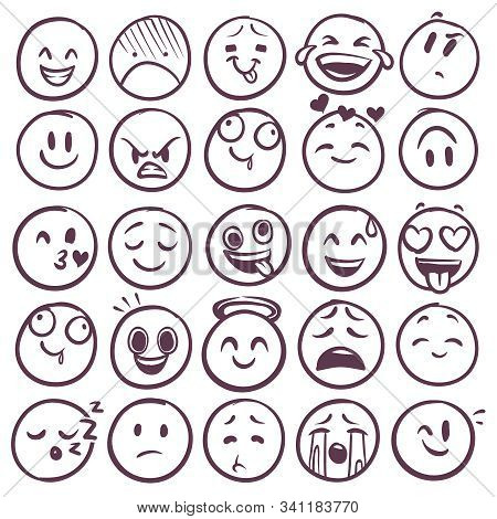 Doodle Emoticons. Emoji With Different Expression Of Angry, Happy And Sad. Funny Sketch Faces For Me