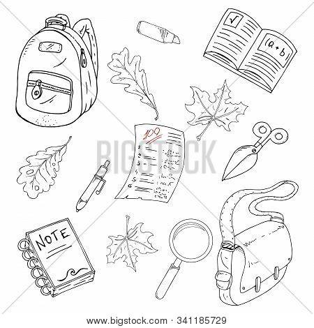 Set School Theme. Vector Illustration Background On A School Theme. Hand Drawn Notebook, Pen, Ruler,