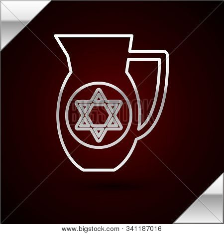 Silver Line Decanter With Star Of David Icon Isolated On Dark Red Background. Pottery Jug. Organic P