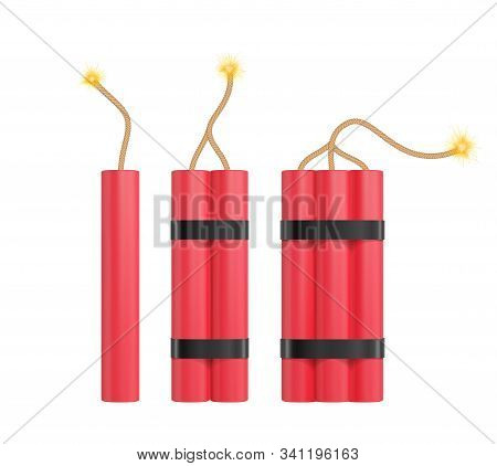 Bomb With Flickering Fuse. Realistic Vector Tnt Dynamite Sticks Illustration.
