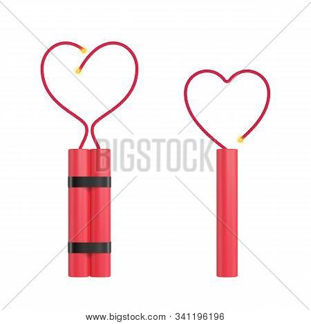 Bomb With Heart Shape Flickering Fuse. Realistic Vector Tnt Dynamite Sticks Illustration. Love Conce