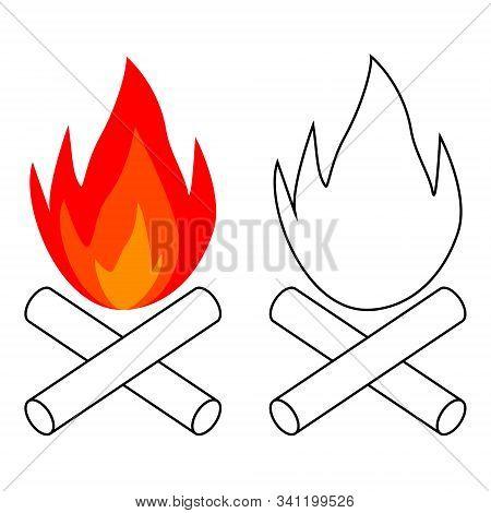 Simple Bonfire Icon Burning Logs, Vector Campfire Balefire, Smudge