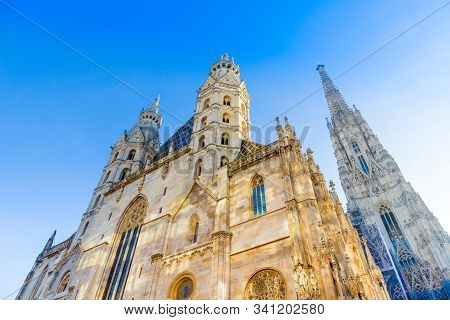 The St. Stephen's Cathedral (1160) In Vienna, Austria At Morning On A Clear Day