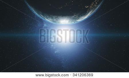 Majestic Rotate Earth Orbit Sunlight Glow Galaxy. Cosmos Interstellar Nebula Star Radiance Spin Planet Close up Satellite View Outer Space 3D Animation
