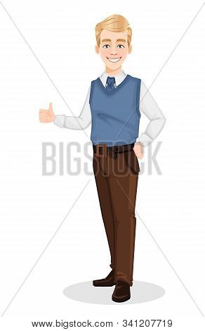 Successful Business Man In Office Style Clothes. Handsome Blonde Businessman Showings Thumbs Up Sign