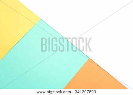 Abstract Background Of Four Trending Colors Orange Tiger, Mimosa, White, Biscay Green. Mint, White,